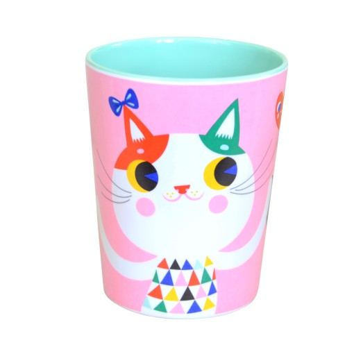 Melamine cup cat pink MC1