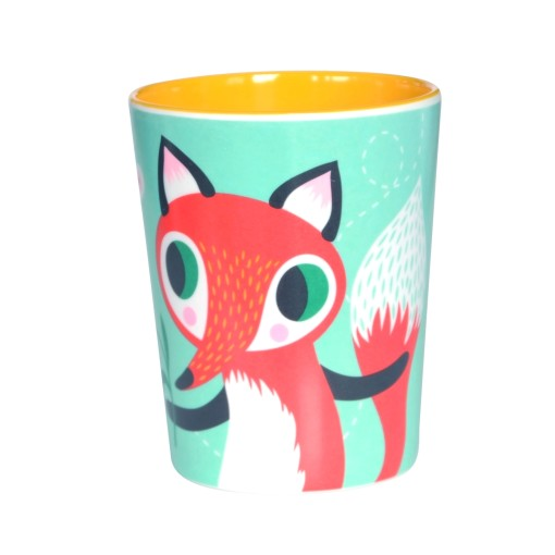Melamine cup fox rabbit mint MC8 bck