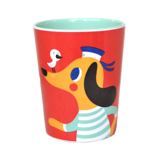 Melamine cup wolf dog red MC3
