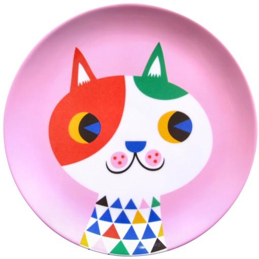 Melamine plate cat pink MP1