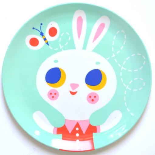 Melamine plate rabbit mint MP13