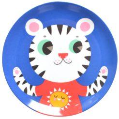 Melamine plate tiger blue MP19