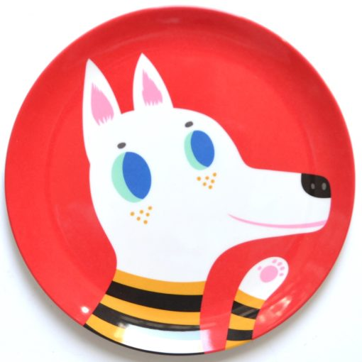 Melamine plate wolf red MP11