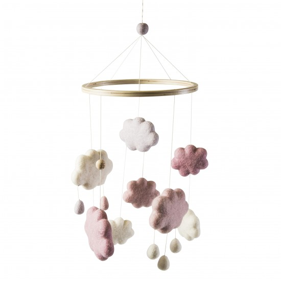 filz wolken baby mobile m dchen sebra truls trine. Black Bedroom Furniture Sets. Home Design Ideas