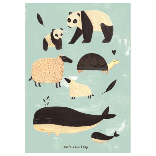 poster_black_white_animals_mint_1